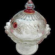 Vintage elegant glass footed pink satin  ladies powder jar with cover