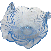 Vintage Cambridge glass blue caprice curved up bowl
