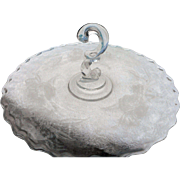 Vintage elegant glass 12 inch rose engaved question mark shaped handle sandich tray round