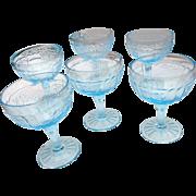 6 Vintage elegant glass by Cambridge blue caprice 5 inch goblets