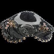 Vintage amethyst hand painted flowers 2 handles bowl