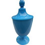 Vintage cambridge blue milk glass azurite 10 inch covered candy dish