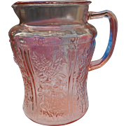 Vintage glass by federal 8 inch water pitcher in the pink sharon psttern 80 oz
