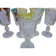 5 elegant crystal glass by Heisey Glass co plantation clarets