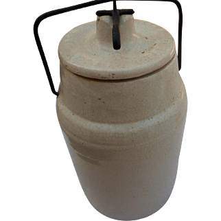 Patented 4 16 19 8 inches tall crock with lid and wire closer