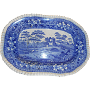 Antique blue transfer english 13 1/2 inch scenic platter