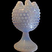 Vintage blue opalescent hobnail footed crimped top 7 inch vase