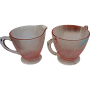Vintage Jeanette glass pink homespun sugar and creamer