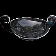 Vintage Amethyst black candlewick  2 handles 9 1/2 inch center bowl