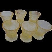 6 Hazel Atlas vintage yellow floritine 3 1/2 inchch footed juice glass