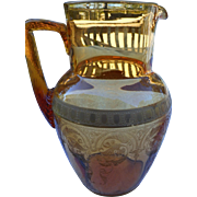 Vintage Paden City amber water pitcher engraved and gold band