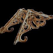 Circa 1890 pair of wrought iron ornate shelf brackets 8 x 9 1/2 inches