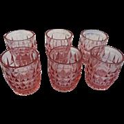 Six vintage elegant pink glass juice tumblers