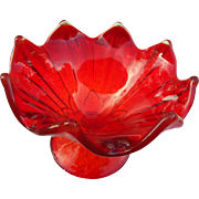 Vintage elegant glass new martinsville ruby red elevated dish