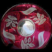 Vintage elegant glass ruby red 14 inch platter new martinsville floral pattern