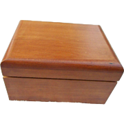 Vintage  music box in wood case plays born free