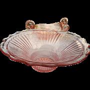 Vintage elegant glass pink floral pattern large bowl