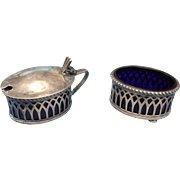 Circa 1890 2 piece condomint silver plate set cobalt insert