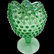 Vintage green hobnail ruffled rim footed vase