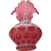 Fenton cranberry opalescent coin dot with crimped top 7 inch vase