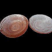 Six vintage pink flwer pattern cereal bowls