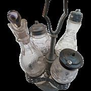 circa 1900 silver plate condiment set from Victorian era