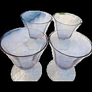 Vintage elegant ice blue glass footed 3 1/2 inch juice glasses
