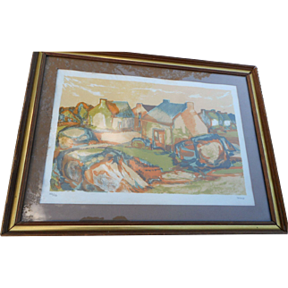Vintage collectors guild authenticated contempoary scene by Thiouier framed