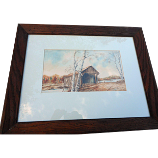 1964 water color signed listed artist Parrillo framed and matted covered bridge