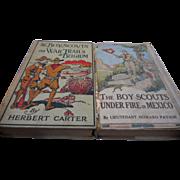Two vintage Boy Scout books war trails in Belgiim 1916 Under fire in Mexico 1914
