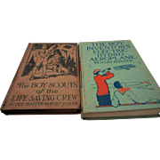 Two vintage boy scout books Inventors electric Hydroaeroplane 1929 pf the lifesaving crew 1914