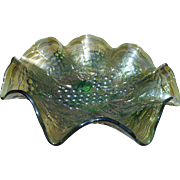 Vintage green opalescent grape pattern rippled rim carnival glass bowl