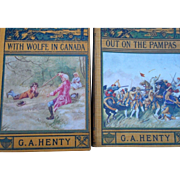 Two vintage childrens books by g a Hently With Wolfe in Canada and out on the Pampas hardcover