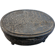 Antique oval metal trinket box marked jb1770