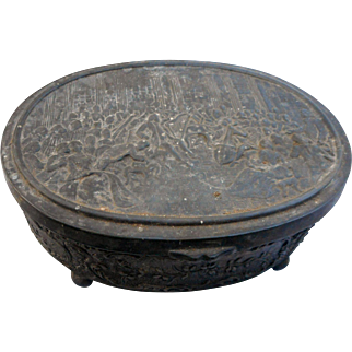 Antique oval metal trinket box marked jb1770