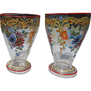 Pair of vintage hand painted bohemian hand painted glass vases