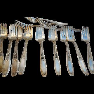 Seven vintage Roger Brothers silverplate forks