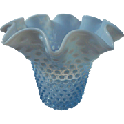 Vintage fenton hobnail blue opalescent ripple top 7 1/2 nch vase