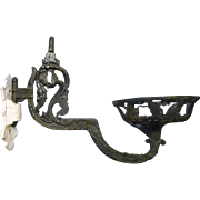 Vintage victorian wrought iron oil lamp wall bracket