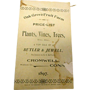 1897 oak Grove Fruit Farm price list Cromwell Conneticut