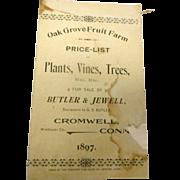 1897 oak Grove Fruit Farm price list Cromwell Conneticut