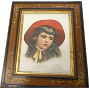 Circa 1900 Victoria walnut carved frame girl lithograph