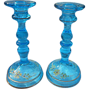 Pair of vintage clear blue hand painted glass 9 inch candlesticks