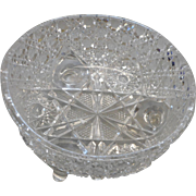 Cifrca 1900 4 footed american brilliant period cut glass bowl