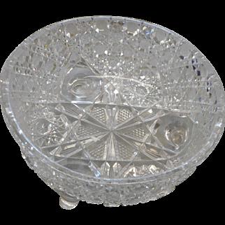 Cifrca 1900 4 footed american brilliant period cut glass bowl