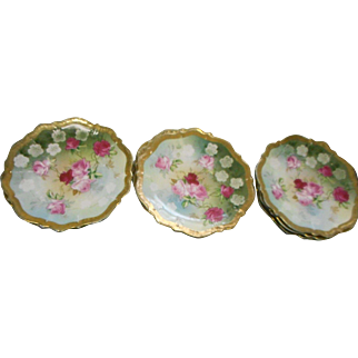 9 vintage circa 1929 hand painted 6 inch florsl desert plates Queen  Luisa rose germany