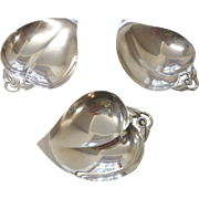 Three sterling Tiffany leaf shaped nut or mint dishes