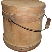 Circa 1929 wood firkin bail handle and lid