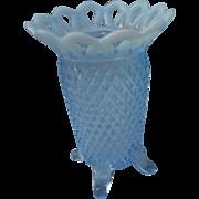 Vintage 4 toed diamond cut blue opalescant 5 inch vase