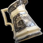 Circa 1890  grey transfer ware 8 inch ironston pitcher european scene